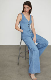 BCBG Sleeveless Button Front Jumpsuit