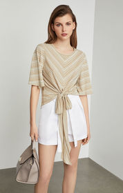 BCBG Striped Tie-Front Top