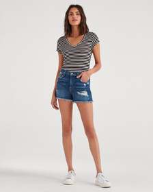 7 For All Mankind High Waist Short with Frayed Hem