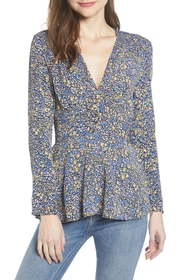 Leith Floral Smocked Detail Peplum Blouse