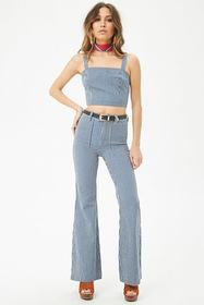 Forever21 Pinstriped Denim Crop Top