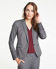 The One-Button Blazer in Sharkskin