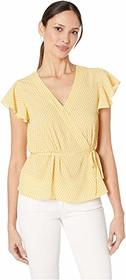 CeCe Short Sleeve V-Neck Garden Geo Wrap Top
