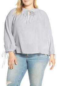 Lucky Brand Metallic Embroidered Peasant Top (Plus