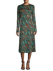 M Missoni Abito Leopard Print Lurex Midi Dress AQU