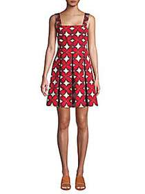 Valentino Floral Cotton Blend A-Line Dress RED