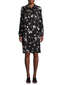 Valentino Floral Tie-Neck Shift Dress NERO