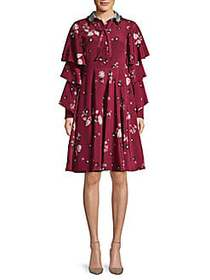 Valentino Floral Silk & Wool Necktie Dress CASSIS