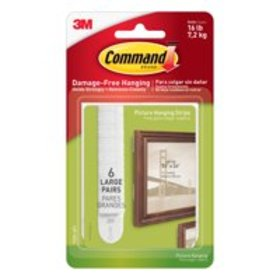3M Command Picture Hanging Strips, White, 6/Pkg.