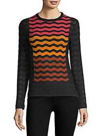 M Missoni Wave Ripple Long-Sleeve Top BLACK