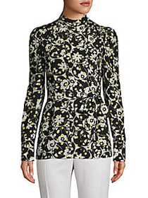 Valentino Self-Tie Floral Silk Top NERO