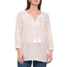 NYDJ Natural Striped Popover Shirt - 3/4 Sleeve (F