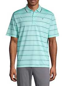 Callaway Oxford Stripe Polo Shirt ARUBA BLUE