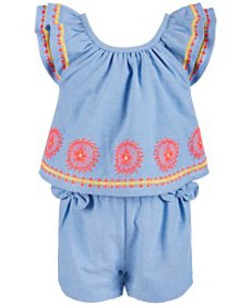 First Impressions Baby Girls Embroidered Romper, C