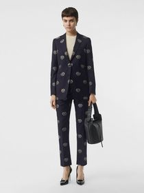 Burberry Fil Coupé Crest Wool Tailored Jacket in M