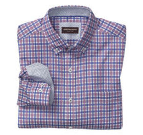 Johnston Murphy Layered Windowpane Button-Down Col