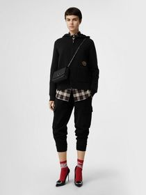 Burberry Embroidered Crest Cashmere Hooded Top in