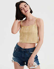 American Eagle AE Embroidered Cropped Tank Top