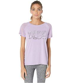 Bebe Sport Mesh Sleeve Sequins Logo Top