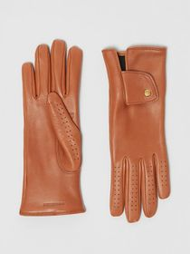 Burberry Cashmere-lined Lambskin Gloves in Tan