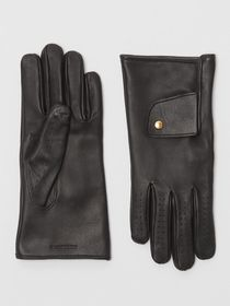 Burberry Cashmere-lined Lambskin Gloves in Black