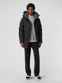 Burberry Check Detail Down-filled Hooded Puffer Co