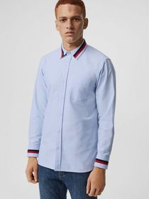 Burberry Knitted Detail Cotton Oxford Shirt in Cor