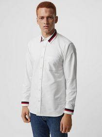 Burberry Knitted Detail Cotton Oxford Shirt in Whi