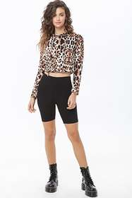 Forever21 Hooded Leopard Print Crop Top