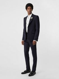 Burberry Slim Fit Wool Twill Tailored Trousers in