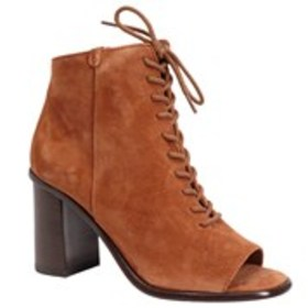 Womens Suede Peep Toe Lace-Up Booties
