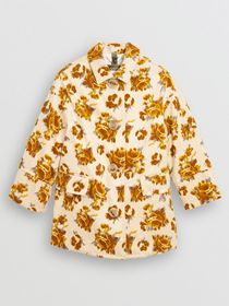 Burberry Floral Velvet Jacquard Car Coat with Warm