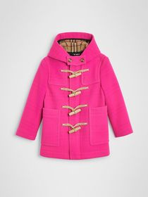 Burberry Double-faced Wool Duffle Coat in Neon Pin