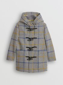 Burberry Houndstooth Check Wool Cashmere Duffle Co