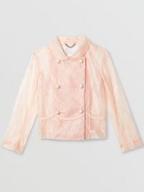Burberry Laminated Lace Jacket in Pale Pink