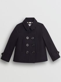 Burberry Wool Cashmere Blend Pea Coat in Navy