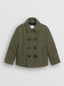 Burberry Check Wool Blend Tailored Coat in Grass G