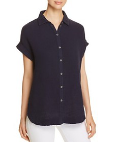 Three Dots - Double Gauze Button-Down Top