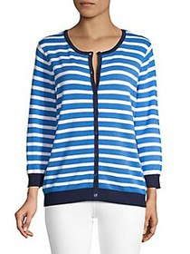 Joseph A Striped Crewneck Cardigan STRONG BLUE