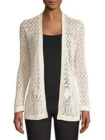 Joseph A Diamond-Pattern Pointelle Cardigan BLACK