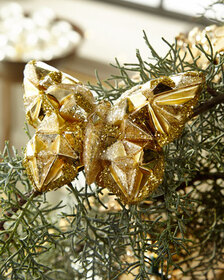 Faceted Golden Glass Butterfly Christmas Ornament