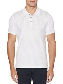 Perry Ellis Classic-Fit Dot Neat Polo BRIGHT WHITE