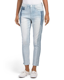 SEVEN7 High Rise Mix Denim Skinny Ankle Jeans