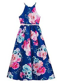 Rare Editions Girl's Floral-Print Fit-&-Flare Gown