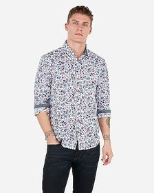 Express slim floral soft wash shirt