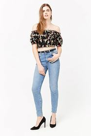 Forever21 Sheer Floral Off-the-Shoulder Crop Top