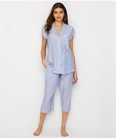 Eileen West Striped Woven Cropped Pajama Set