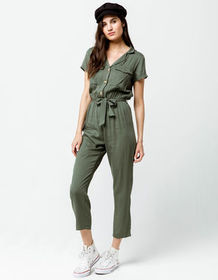 SKY AND SPARROW Tie Waist Crop Womens Jumpsuit_