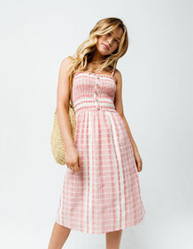 ANGIE Button Front Smocked Coral Midi Dress_