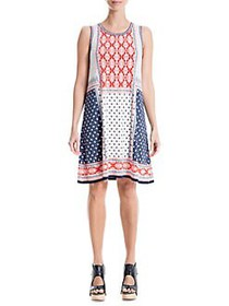 Max Studio Printed Sleeveless Dress NAVY